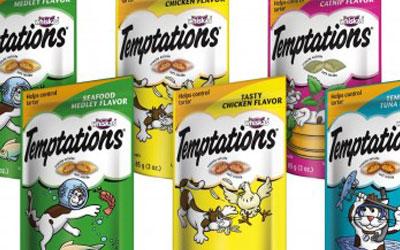 Echantillons des gâteries Temptations pour chat