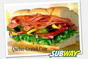 Sandwich Gratuit de 6 pouces chez Subway