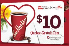 Carte Tim Hortons de 10$ gratuite