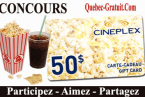 Carte-cadeau de 50 $ Cinémas Cineplex