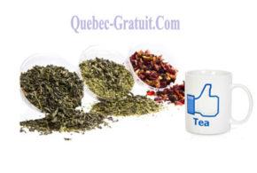 Un Mug et des échantillons de thé