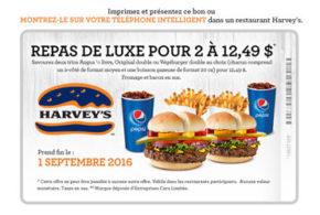 Repas de luxe pour 2 à 12,49$ seulement chez Harvey's