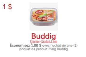 Coupon de 1$ sur tout produit Buddig de 250g