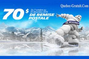 70$ en remise postale à l'achat de pneus Michelin