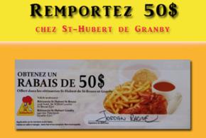 Concours gagnez une carte-cadeau Rôtisseries St-Hubert de 50$