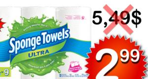 Emballage de 6 rouleaux d'essuie-tout Sponge Towels à 2,99$