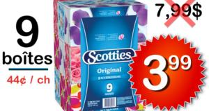 Emballage de 9 boîtes de papier mouchoirs Scotties à 3.99$