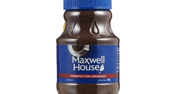 Café instantanée Maxwell House à 2,99$