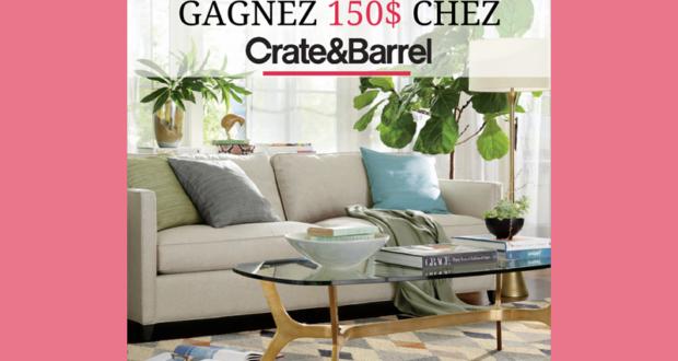 concours gagnez une carte cadeau de 150 d penser chez crate barrel. Black Bedroom Furniture Sets. Home Design Ideas