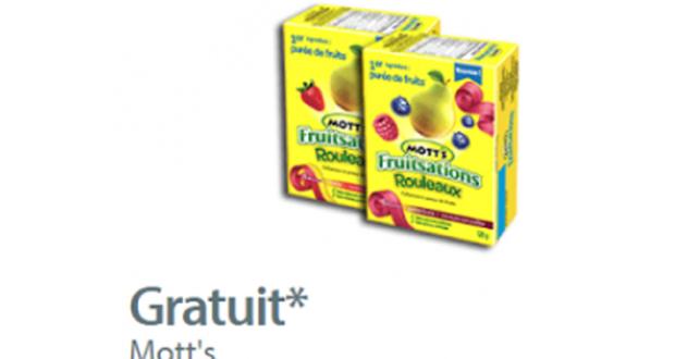 Coupon gratuité sur une boite de rouleaux Mott's Fruitsations
