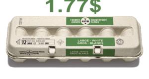 12 gros œufs blancs à 1.77$