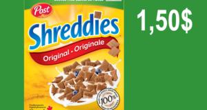 Céréales Shreddies Post 550g à 1,50$