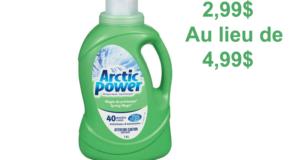 Détergent à lessive Arctic Power 40 brassées à 2,99$