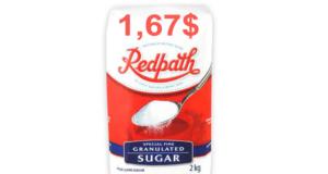 Sucre granulé Redpath 2 kg à 1,67$