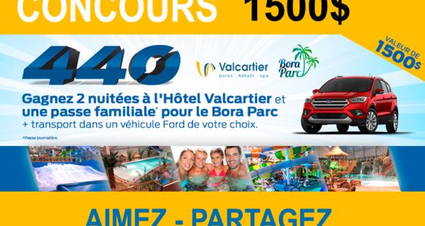 2 nuitées à l'Hôtel Valcartier et une passe familiale pour le Bora Parc