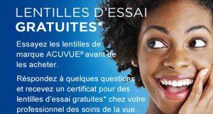 Acuvue – Lentilles Gratuites