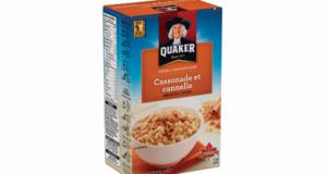 Boîte de gruau instantané Quaker 216 g – 430 g à 1.50$