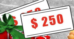 Cartes-cadeaux d'une valeur de 250 $