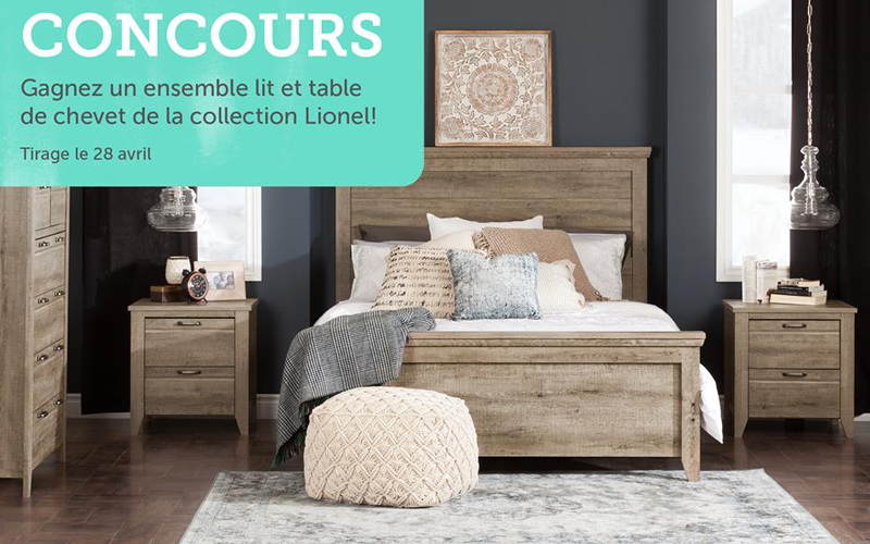 un lit et table de chevet de la collection meubles south shore chantillons gratuits concours. Black Bedroom Furniture Sets. Home Design Ideas