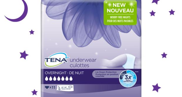 Échantillons gratuits de la nouvelle culotte de nuit Tena