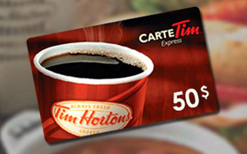 Carte Cadeau Tim Horton.Une Carte Cadeau Tim Horton S De 50 Quebec Gratuit Tout