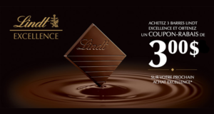 Coupon de réduction de 3$ gratuit de Lindt Excellence