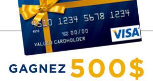 Une carte-cadeau prépayée Visa de 500 $