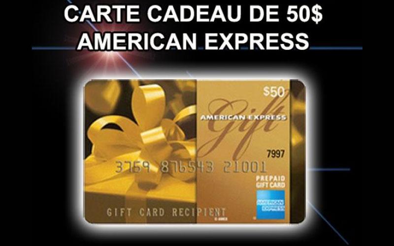 carte cadeau american express de 50 chantillons gratuits concours coupons rabais deals au. Black Bedroom Furniture Sets. Home Design Ideas