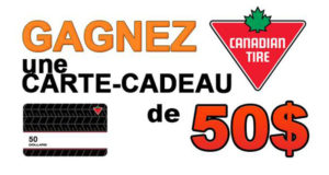 Carte cadeau de 50$ de chez Canadian Tire