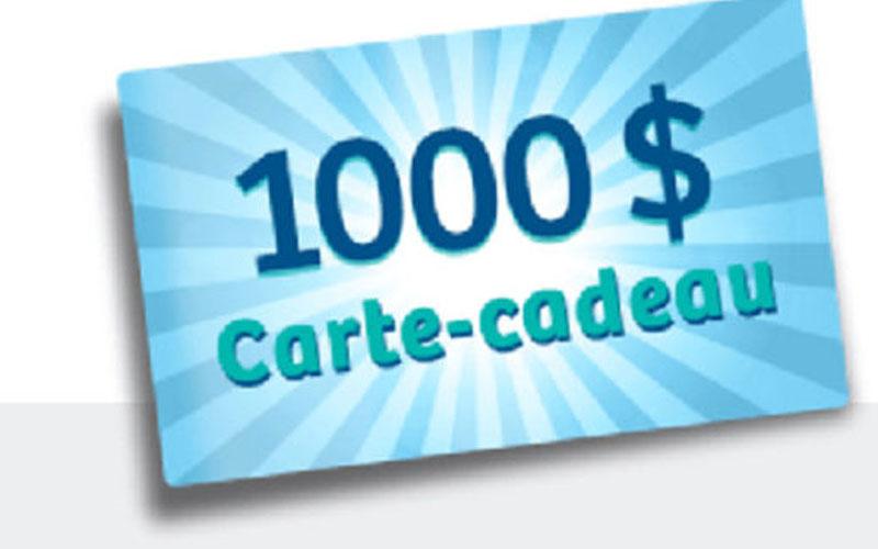 1000 en carte cadeau chantillons gratuits concours coupons rabais deals au qu bec. Black Bedroom Furniture Sets. Home Design Ideas