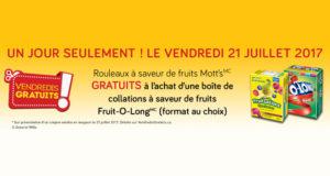 Rouleaux à saveur de fruits Mott's gratuits
