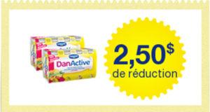Coupon de 2,5$ sur 2 emballages de DanActive
