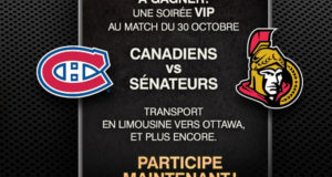 Forfait pour 4 à Ottawa pour voir une partie de hockey (2300$)