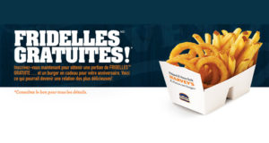 Portion de fridelles et hamburger GRATUIT chez Harvey's