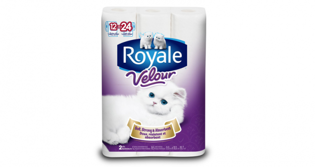 Emballage de 12 rouleaux de papier hygiénique Royale Velour à 2,99$