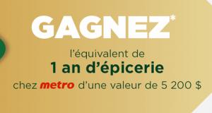 Gagnez un an d'épicerie chez metro (valeur de 5 200$)