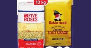 Farine tout usage Five Roses ou Robin Hood 10kg à 8,77$