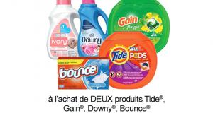 Coupon de 3$ à l'achat de 2 produits Tide Downy Gain ou Bounce