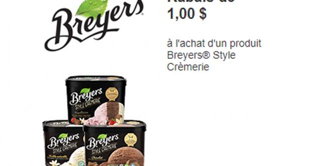 Coupon de 1$ à l'achat d'un produit Breyers Style Crèmerie