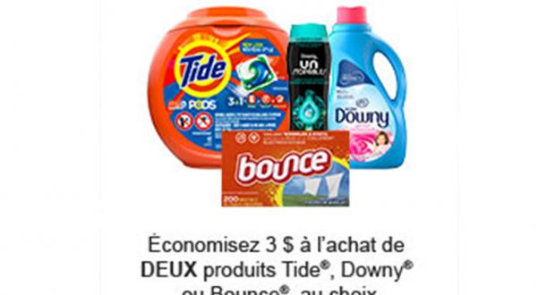 Coupon de 3$ à l'achat de 2 produits Tide - Downy ou Bounce