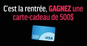 Une carte cadeau Visa de 500$