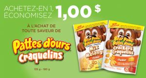 Coupon de 1$ à l'achat de toute saveur de Pattes d'ours Craquelins