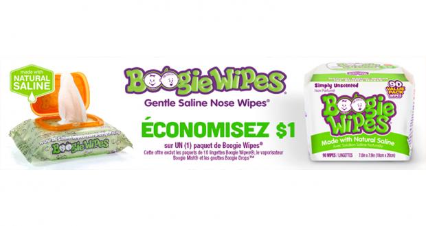 Coupon de 1$ sur Un paquet de Boogie Wipes Lingettes