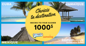 Gagnez un crédit voyage de 1000$ avec Vacances Sunwing