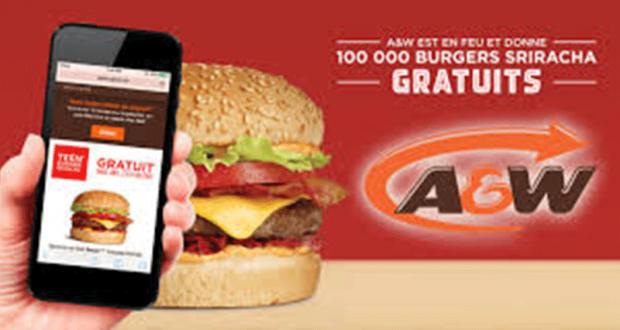 Obtenez un Teen Burger Gratuit chez A&W