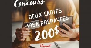 Deux cartes Visa prépayées de 200$