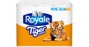 Coupon de 2$ sur un emballage de papier Royale Tiger Towel