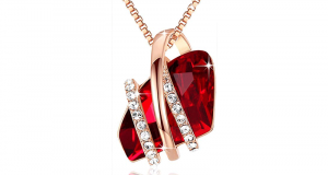 Collier Swarovski Elements Crystal Ruby Red de Bijoux Leafael
