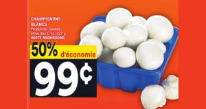 50% d'économie sur CHAMPIGNONS BLANCS