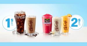 Boisson en fontaine de toute taille ou un café glacé McCafé à 1$